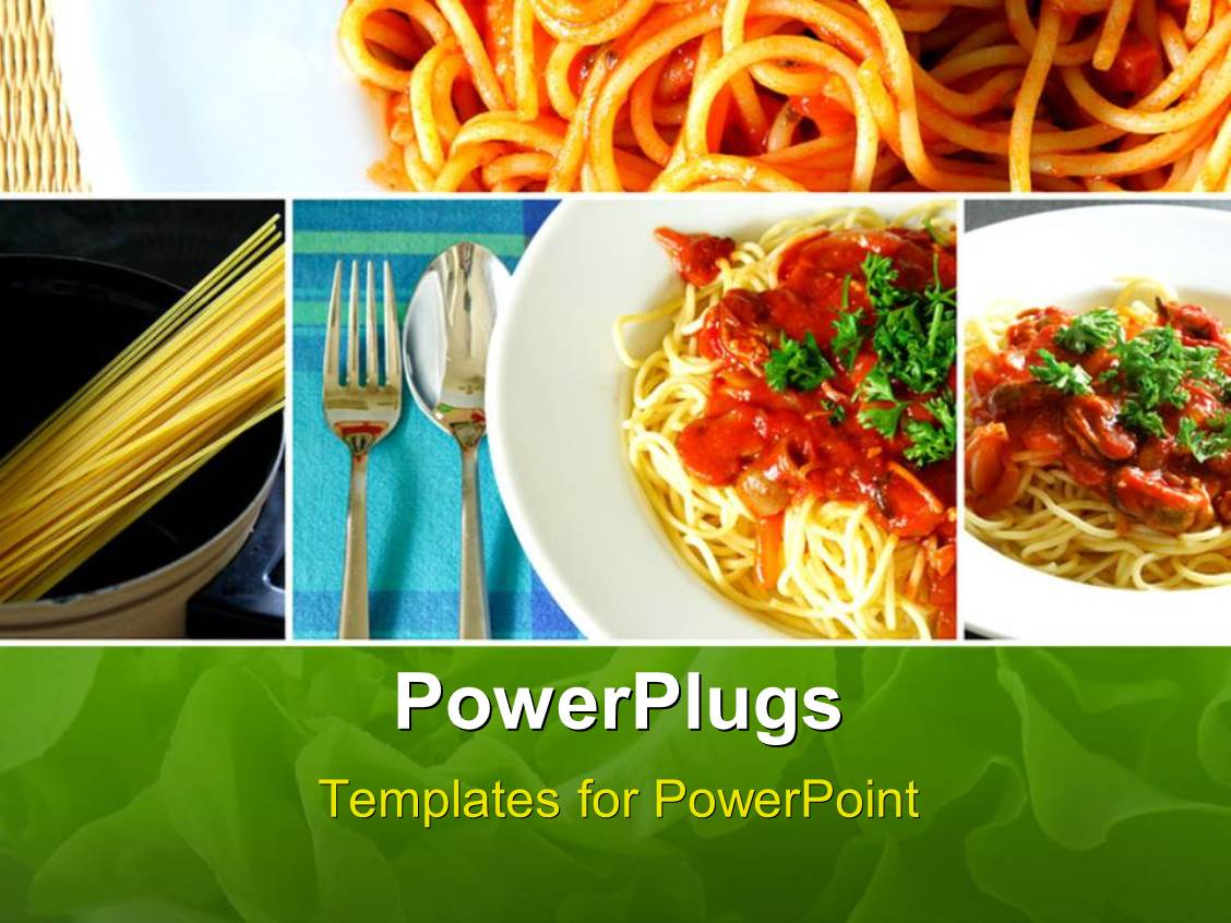 powerpoint template: collage of italian spaghetti food series (27030), Modern powerpoint