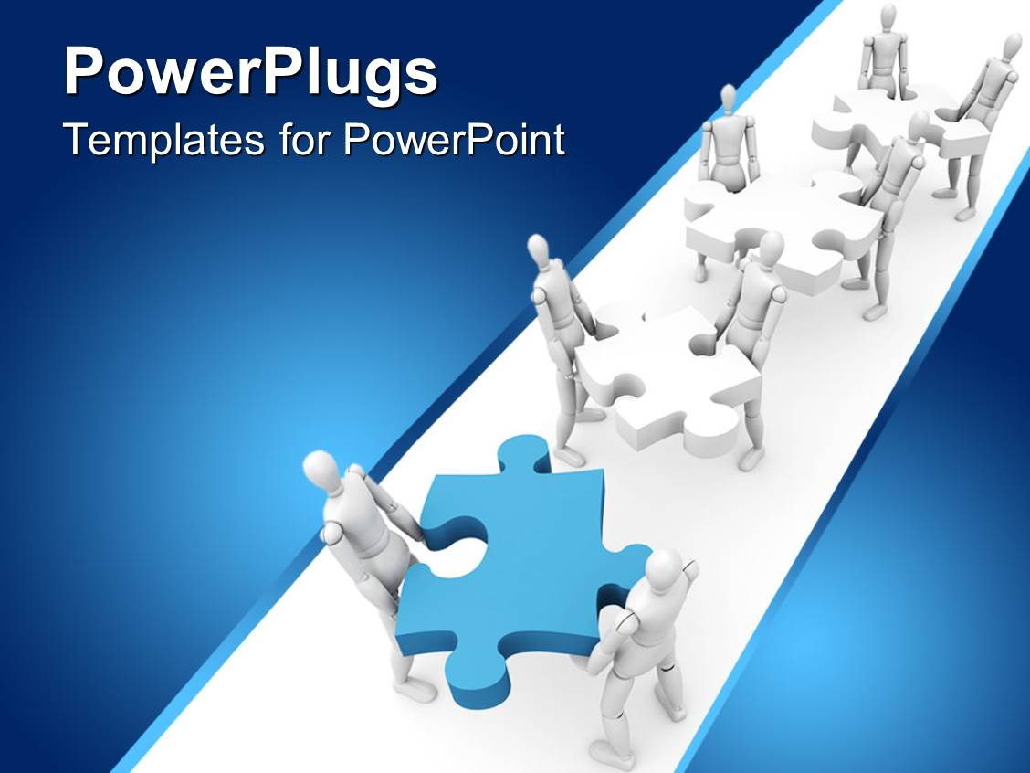 Powerpoint template a collection of robots with jigsaw for Power plugs powerpoint templates