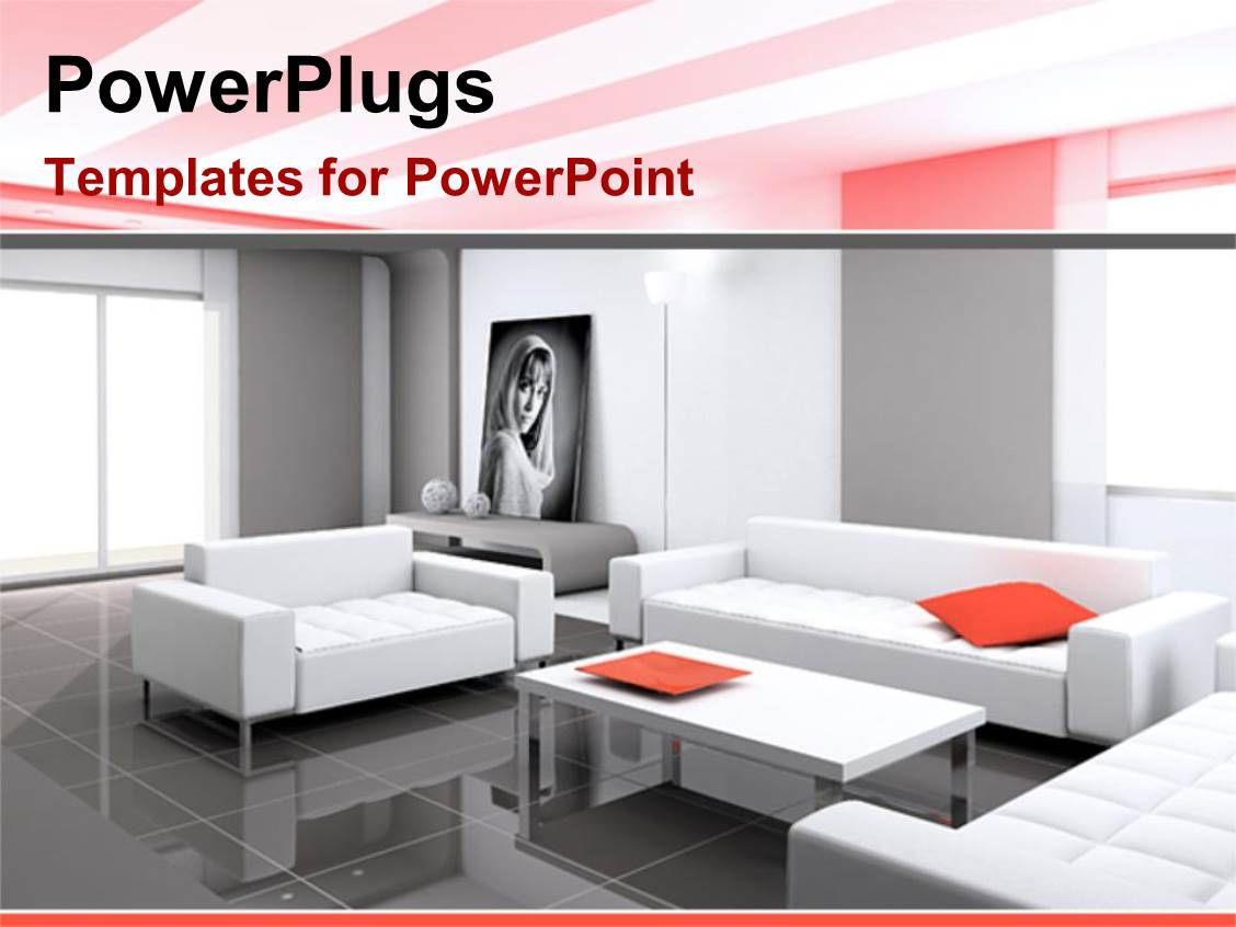 Powerpoint template digital representation of kitchen interior powerplugs powerpoint template with a collection of stylish furniture and a picture of a female toneelgroepblik Image collections