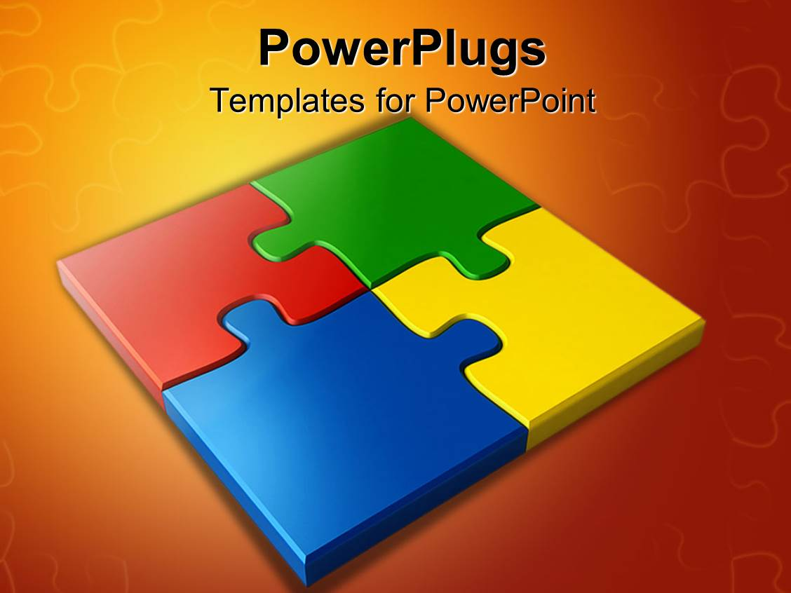PowerPoint Template: letters on colored jigsaw puzzle pieces ...