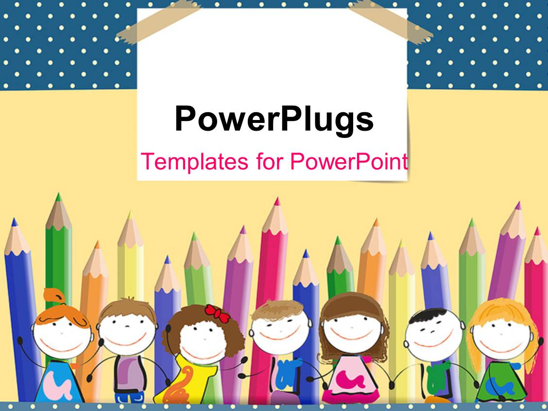 powerpoint template colorful crayons in background with