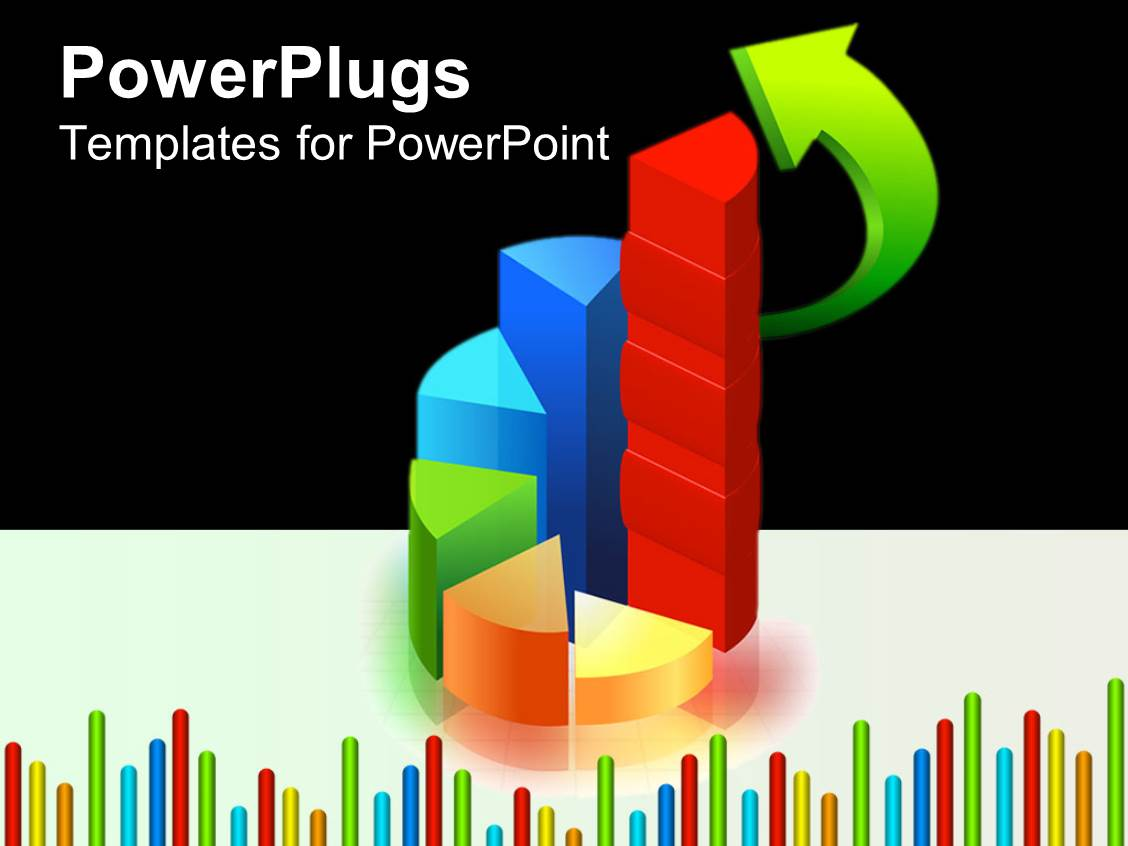 Powerpoint template colorful graphs with green arrow 6188 for Power plugs powerpoint templates