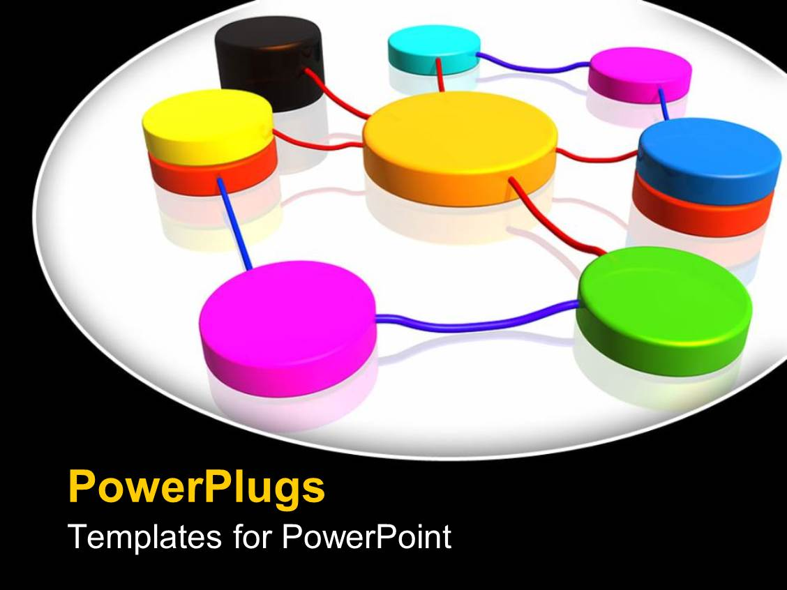 Powerpoint template colorful network connections on white for Power plugs powerpoint templates