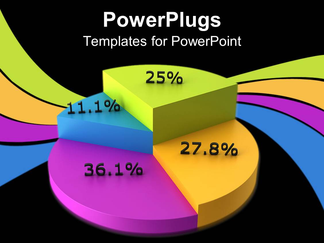 powerpoint template: colorful pie chart displaying percents, Powerpoint templates