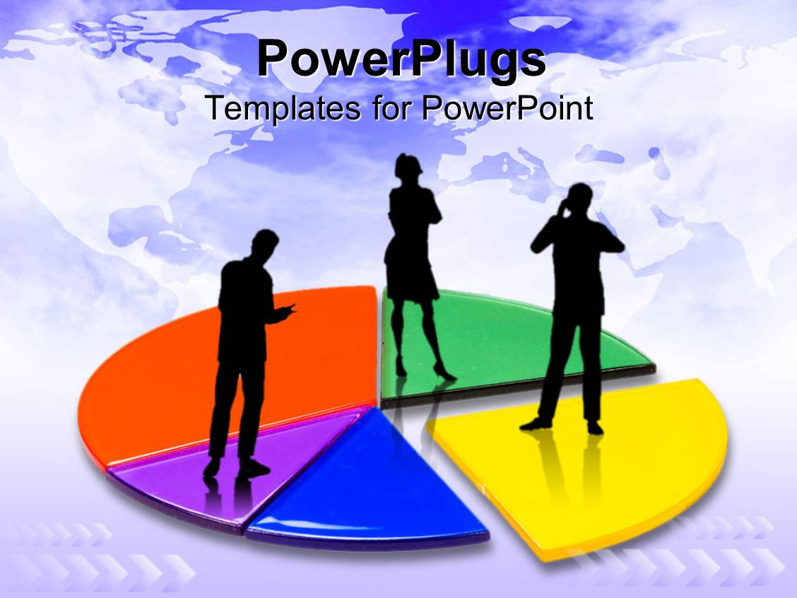 Math powerpoint templates crystalgraphics beautiful theme enhanced with colorful pie chart with three business persons standing on chart plain world template size toneelgroepblik Image collections