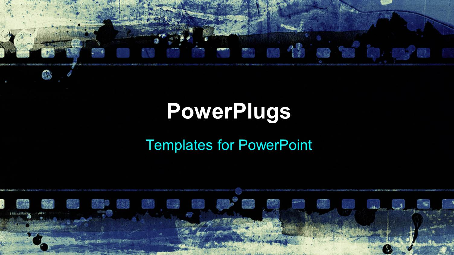 powerpoint template a strip of black film on a blue