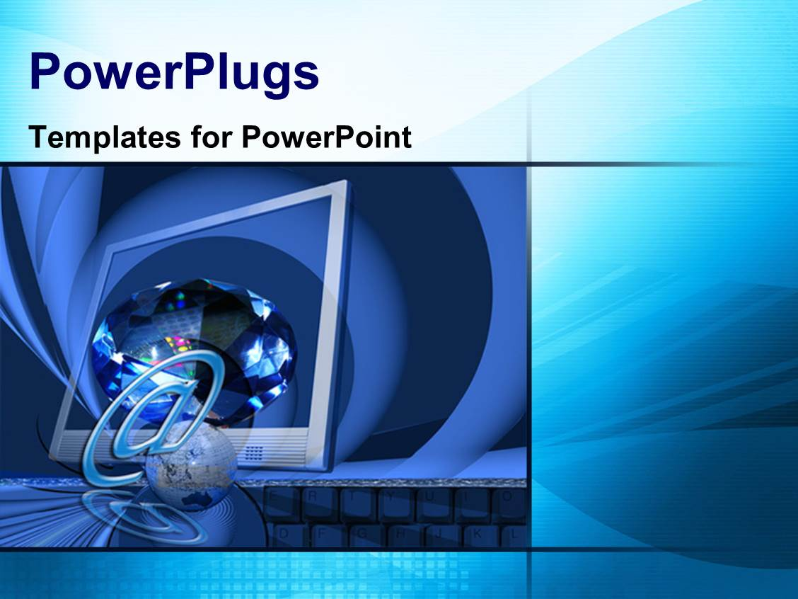 Powerpoint template a computer screen with bluish for Power plugs powerpoint templates