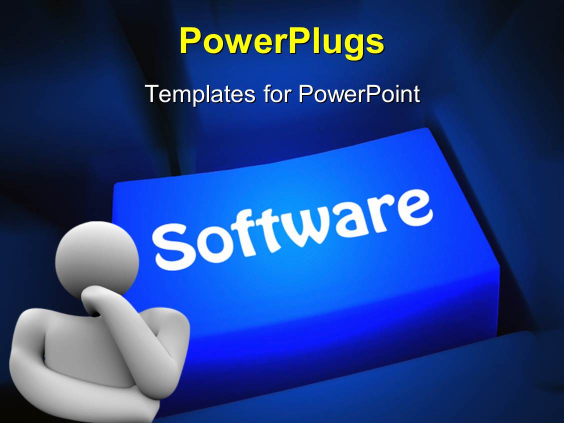 powerpoint template computer software concept with a man thinking, Powerpoint