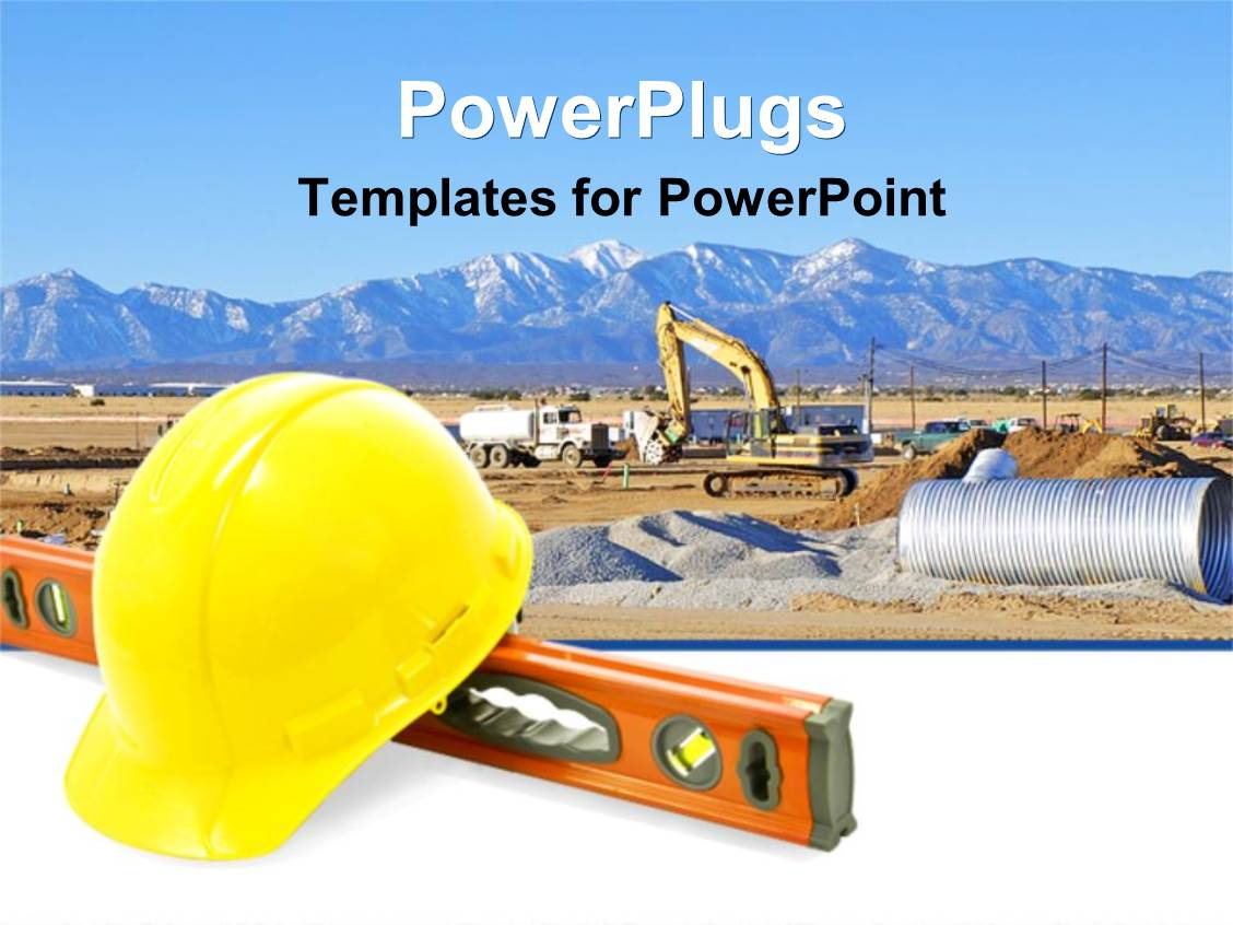 Construction equipment powerpoint templates crystalgraphics powerplugs powerpoint template with construction equipment for work yellow construction hat level tool toneelgroepblik Gallery