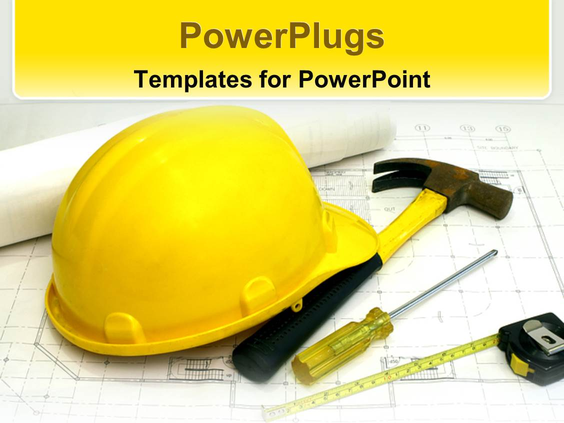 powerpoint template a construction workers hat along