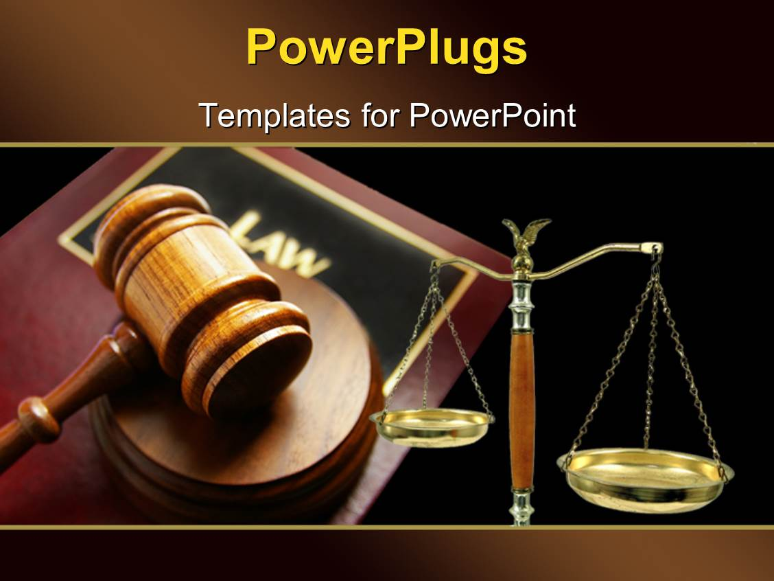 PowerPoint Template: Court gavel on top of a law book and ...