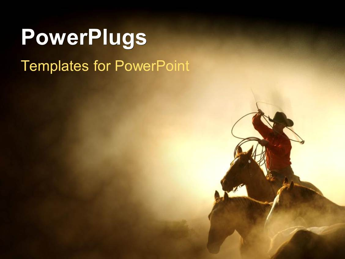 powerpoint template a cowboy on the horse with sand in