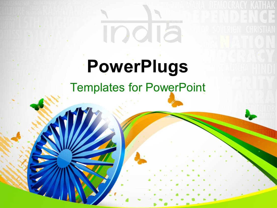 Powerpoint template creative background with indian flag for India map ppt template