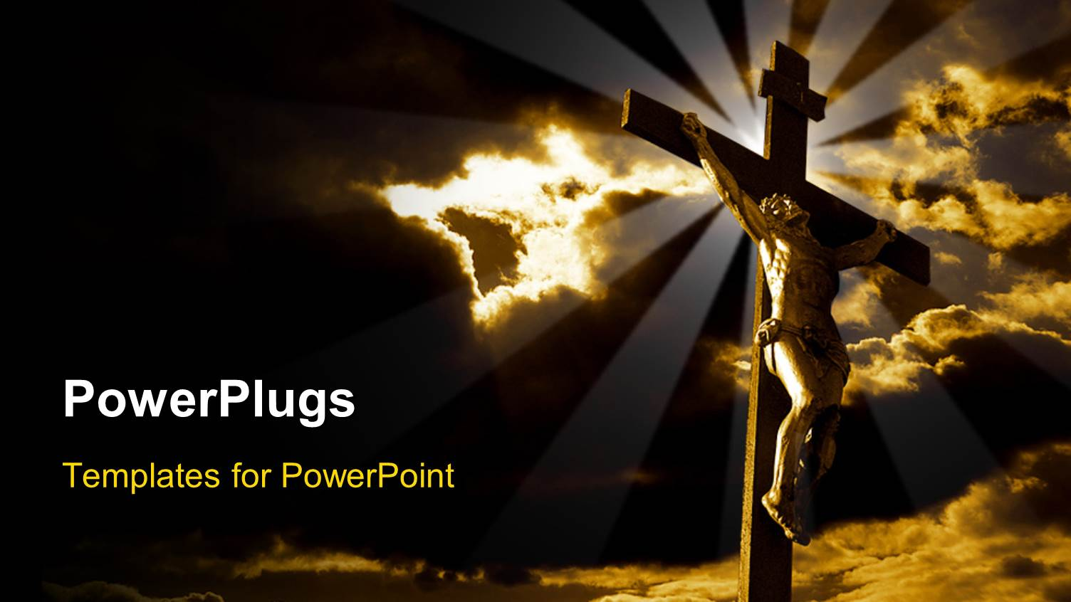 Jesus powerpoint templates crystalgraphics elegant presentation theme enhanced with the crucifixion of jesus with clouds in the background toneelgroepblik Image collections