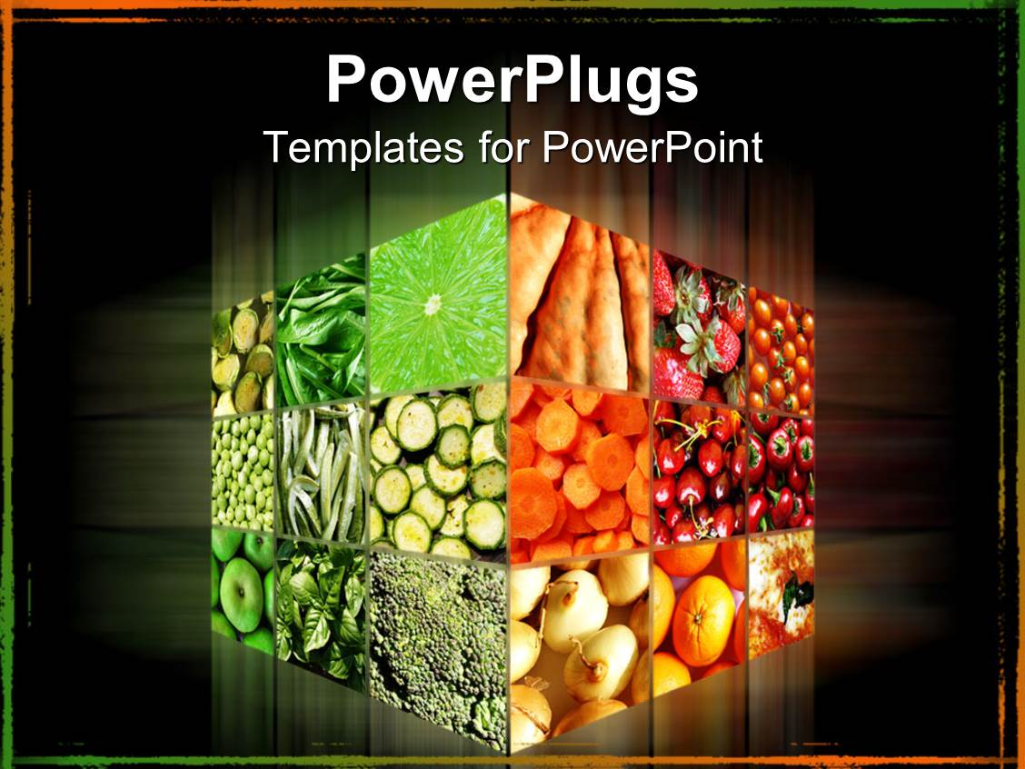 Powerpoint template cube with different fruits and vegetables in powerpoint template displaying cube with different fruits and vegetables in dark background toneelgroepblik Choice Image