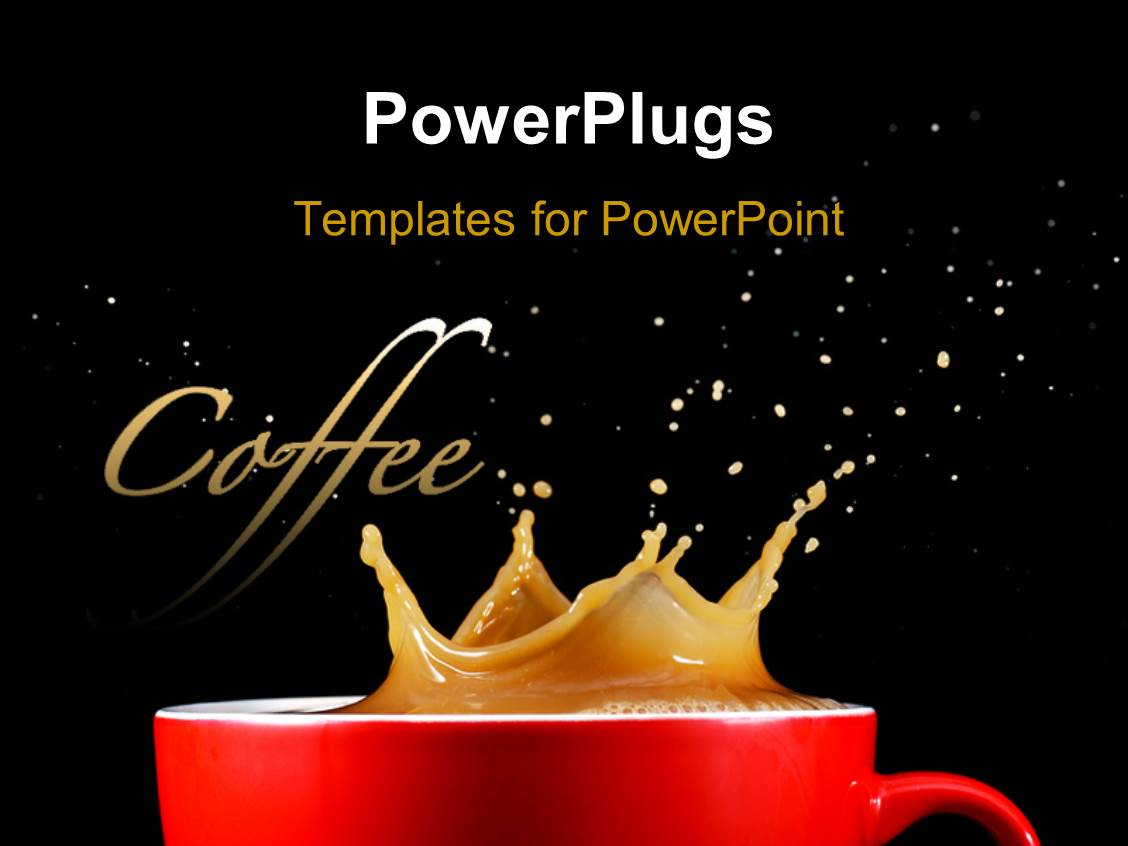 Powerpoint template a cup of coffee with a splash and for Power plugs powerpoint templates