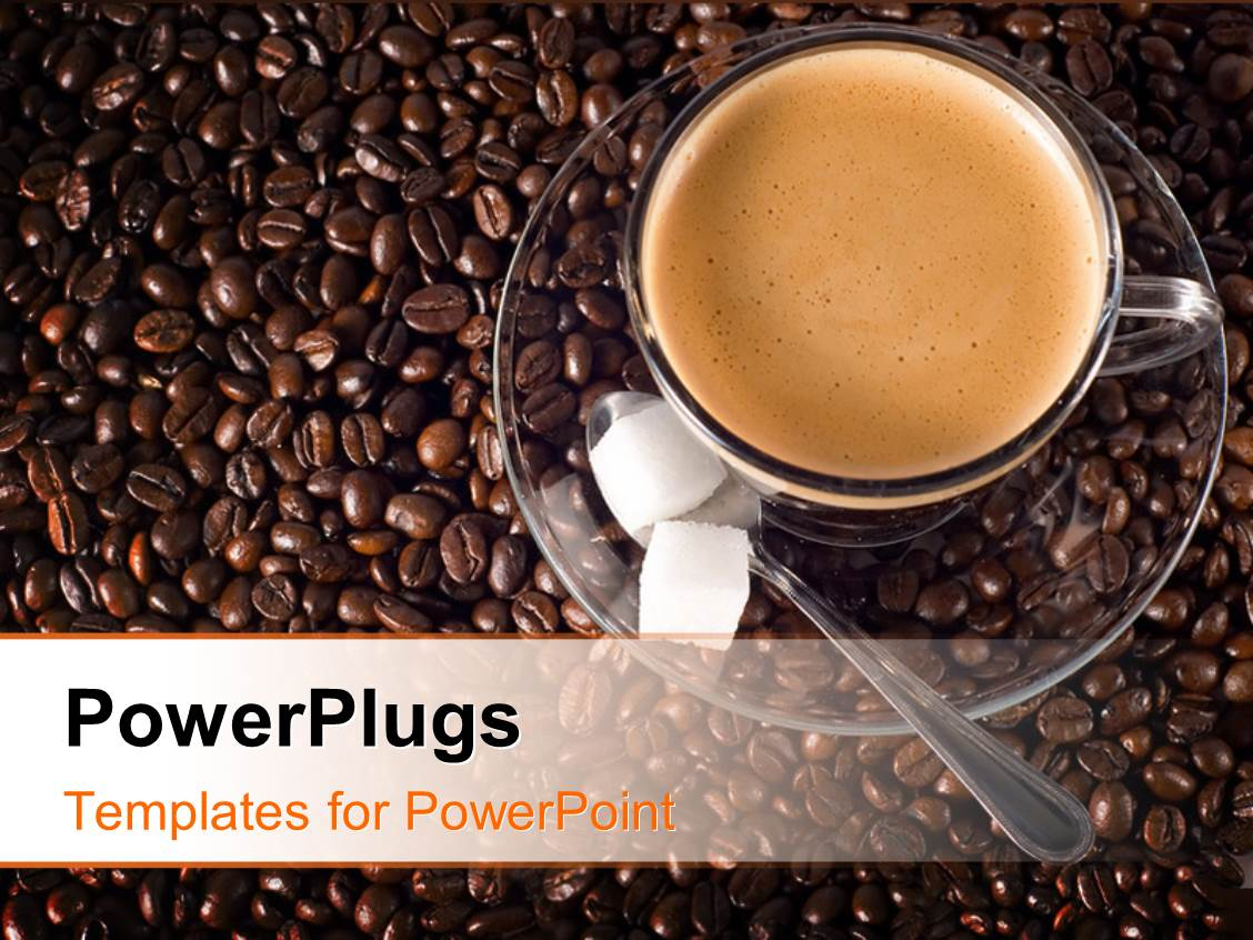 powerpoint template: cup of coffee and sugar cubes , with coffee, Presentation templates