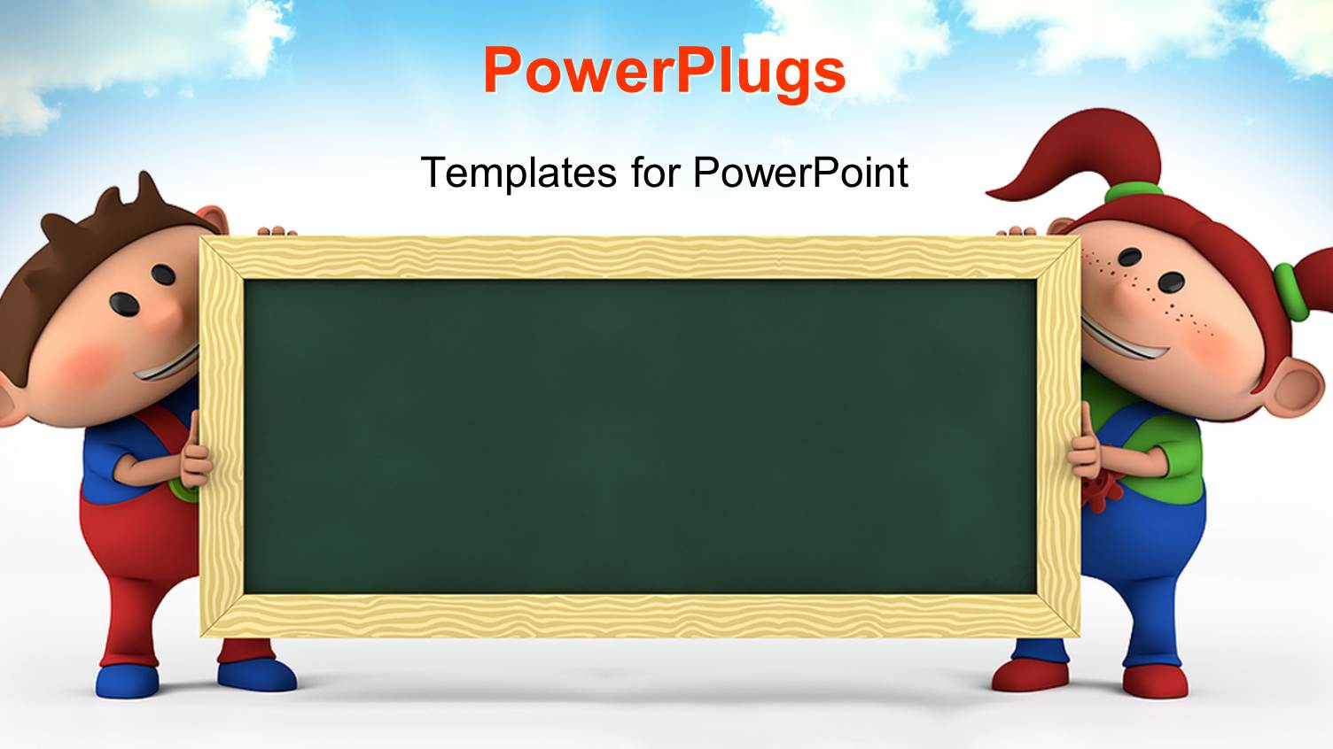 Cartoon powerpoint templates crystalgraphics ppt featuring cute cartoon boy and girl with blackboard education concept with sky in the template size toneelgroepblik Choice Image