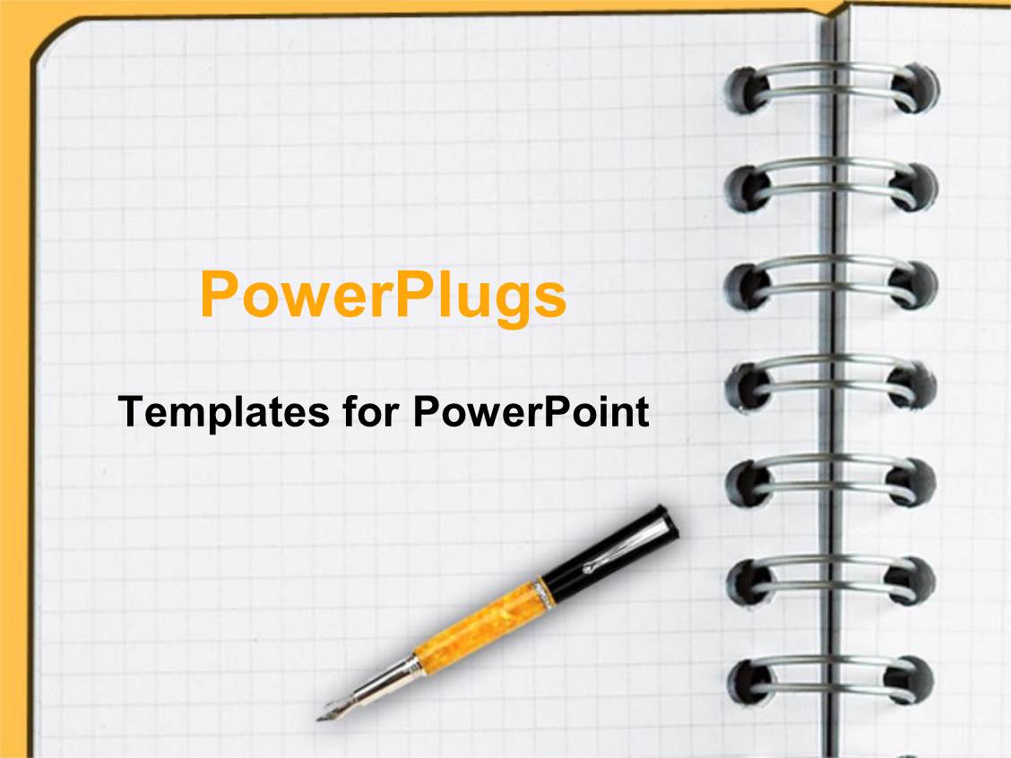 powerpoint template: decorative pen laying on blank sheet of, Modern powerpoint