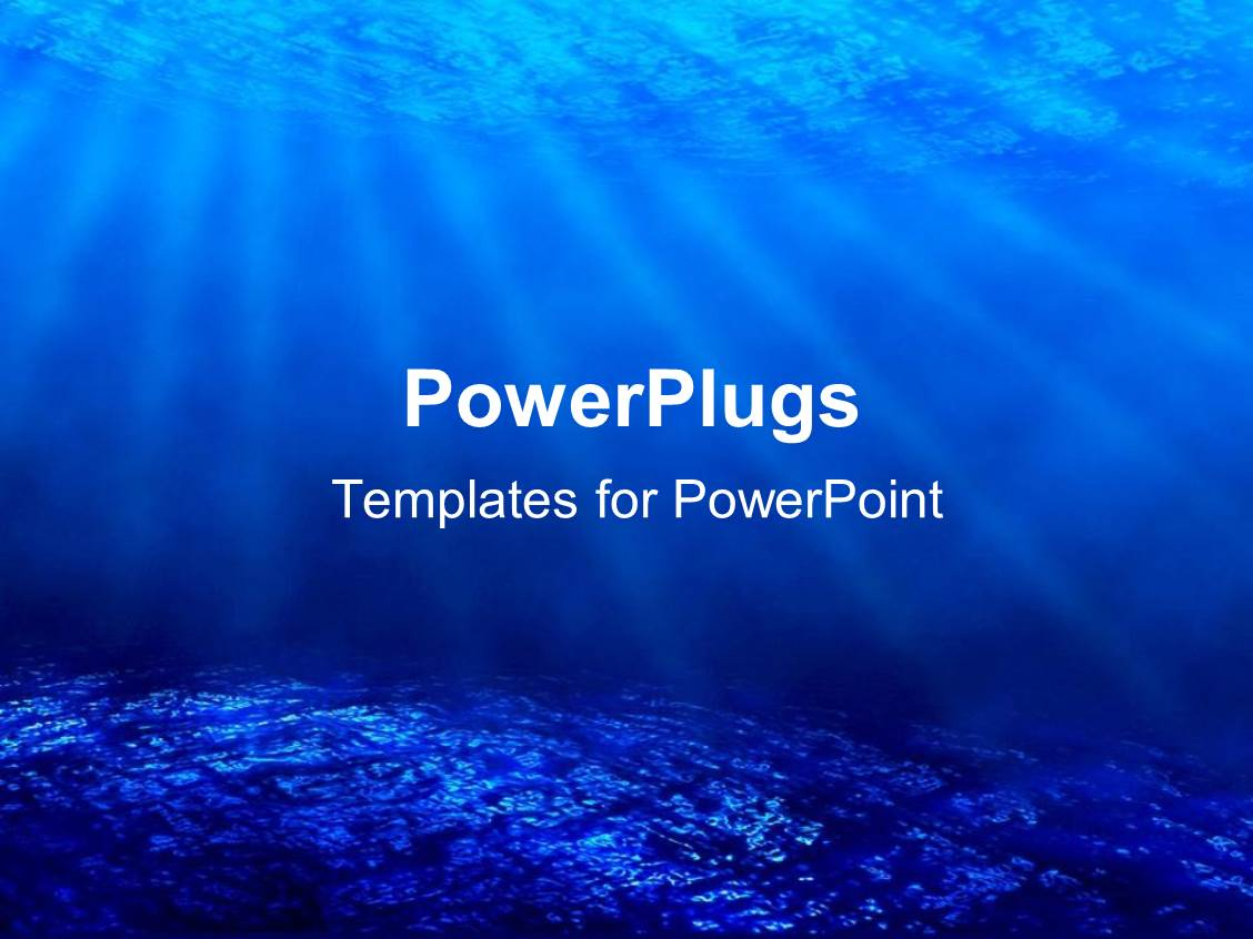 PowerPoint Template: deep sea diving with blue coral ocean and sun ...