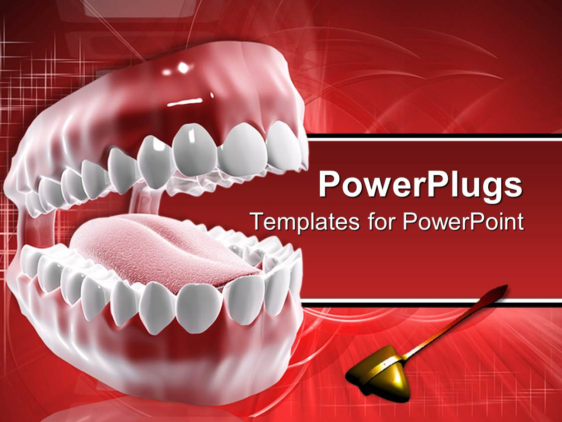 powerpoint template dental care theme with mouth and
