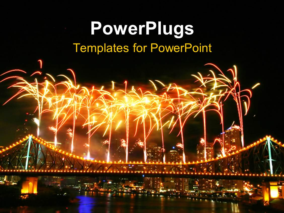 Powerpoint template depiction of celebration with fireworks in powerpoint template displaying depiction of celebration with fireworks in night sky over urban city toneelgroepblik Choice Image