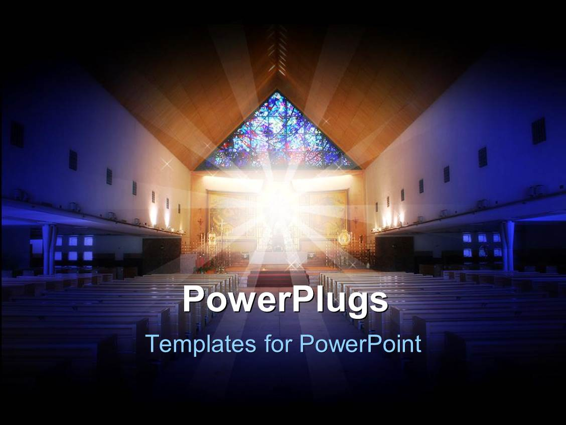 Church powerpoint templates crystalgraphics slide deck featuring a depiction of a church with holy light in the middle of it toneelgroepblik Choice Image