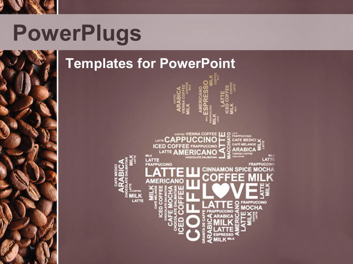 powerpoint template: depiction of coffee cup with coffee in, Presentation templates