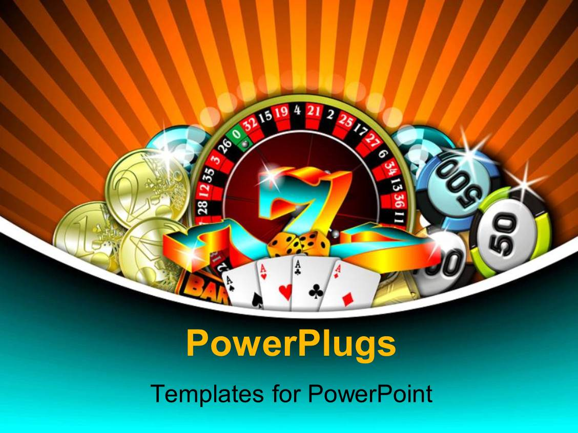 Free powerpoint templates 2529 html free ppt powerpoint templates - Powerplugs Powerpoint Template With Depiction Of Gambling With Chips Cards And Gold Coins On Rolling