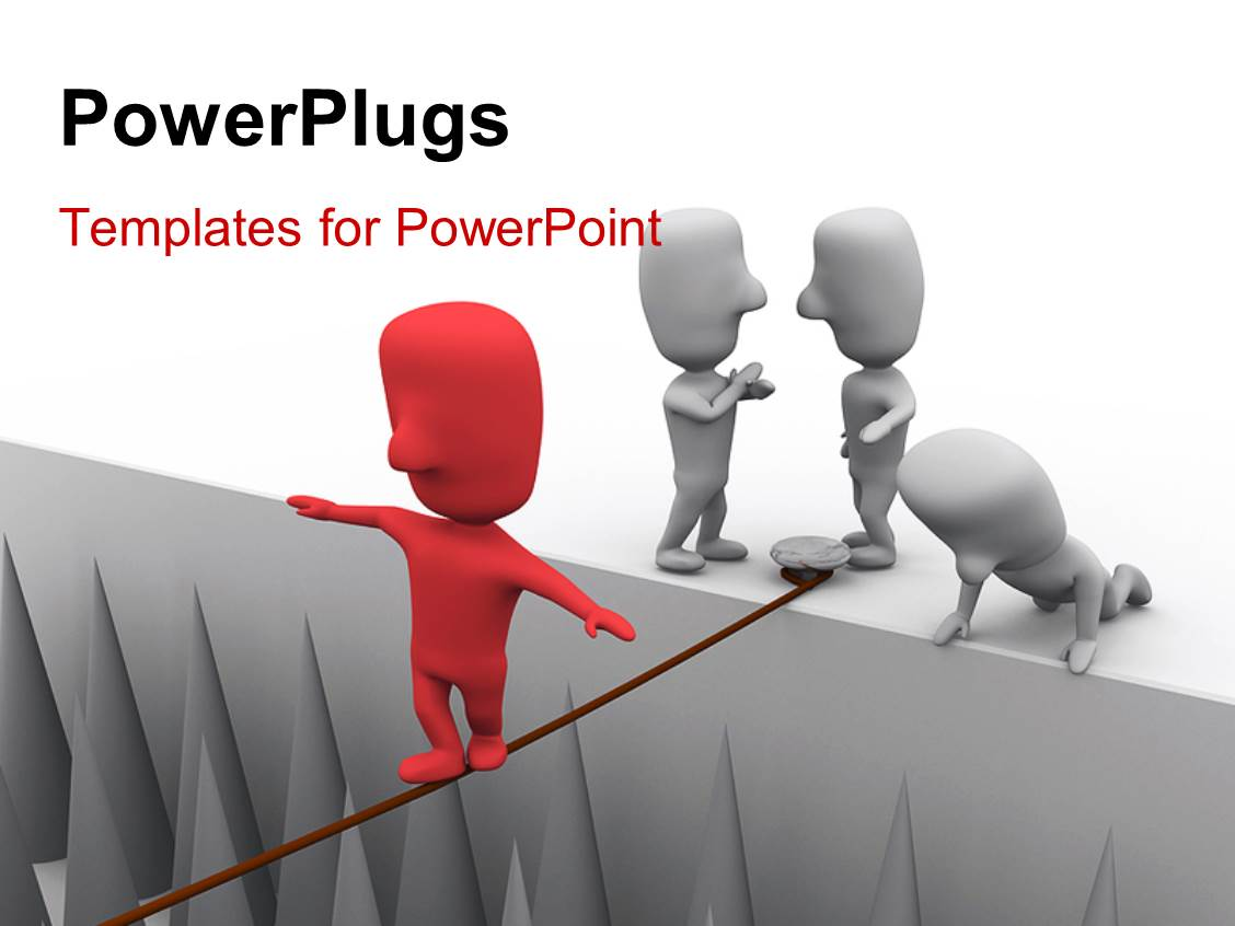 Free powerpoint templates 2529 html free ppt powerpoint templates - Powerplugs Powerpoint Template With Depiction Of Red Colored 3d Man Taking Huge Business Risk