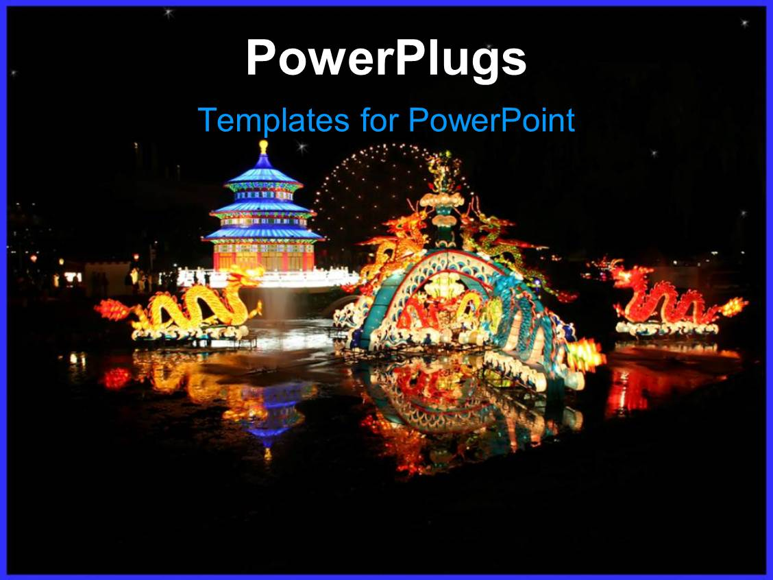 Chinese powerpoint templates crystalgraphics presentation theme with a depiction of typical chinese festival with dragons and fireworks toneelgroepblik Image collections