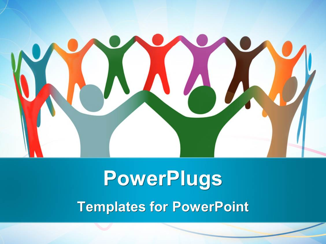 Multicultural powerpoint templates crystalgraphics powerplugs powerpoint template with depiction of unity with colored people holding hands in a circle toneelgroepblik Images