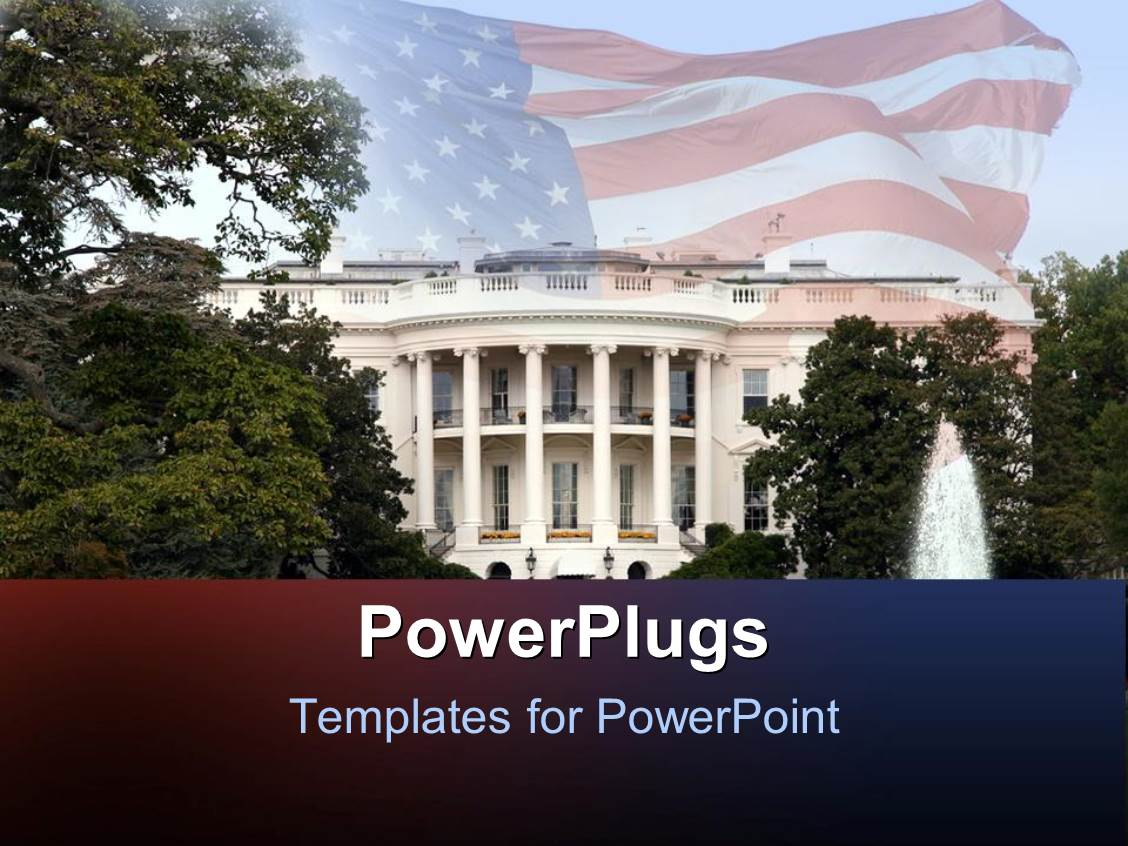 Whitehouse powerpoint templates crystalgraphics a slide set featuring depiction of white house with trees and fountain and united states flag template size toneelgroepblik Gallery