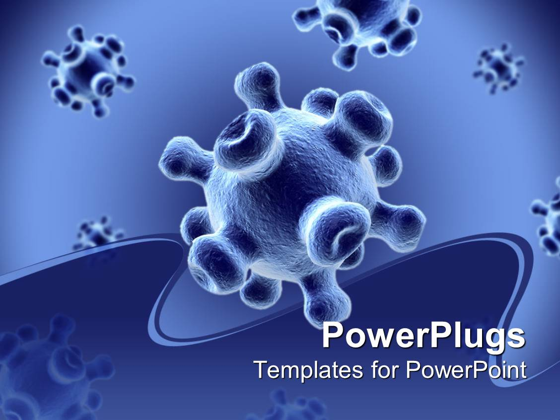 powerpoint template detailed 3d viruses spread on a blue