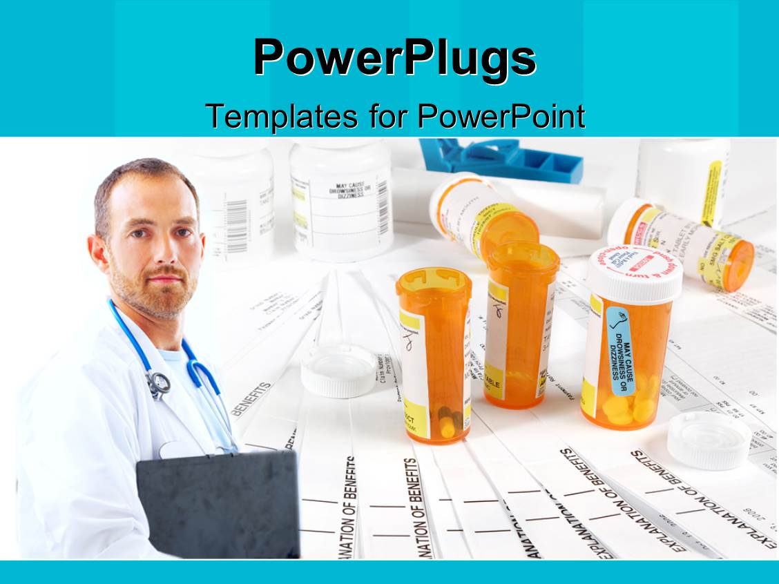 powerpoint template a doctor with a number of medicines in the background 20185. Black Bedroom Furniture Sets. Home Design Ideas