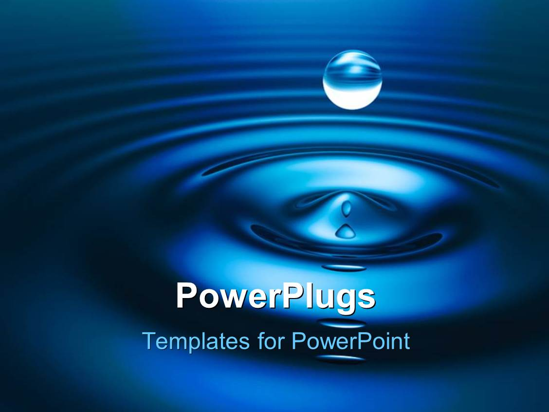 PowerPoint Template: a drop of water with bluish ...