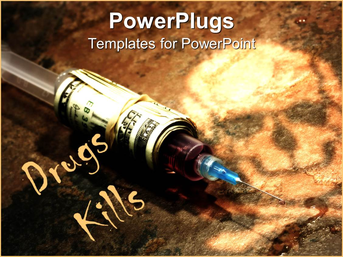 Drugs powerpoint templates crystalgraphics theme having drug syringe covered in stack of money on dark background with skull template size toneelgroepblik Choice Image