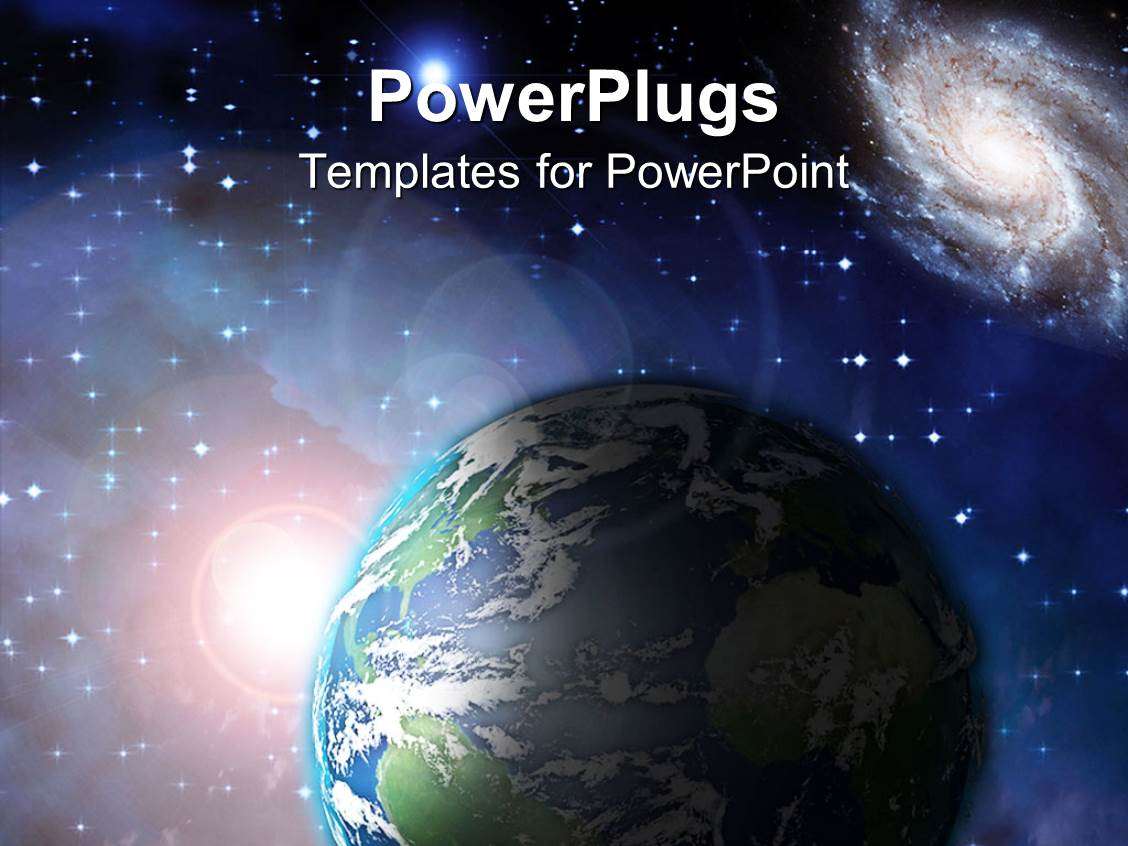 powerpoint template  earth floating in space with lots of