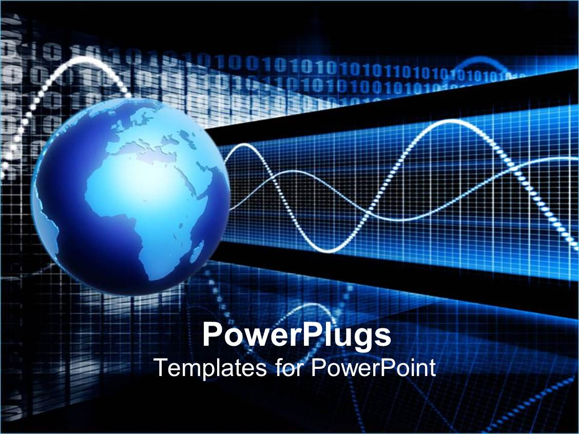 powerpoint template earth globe with pulse signals 29200
