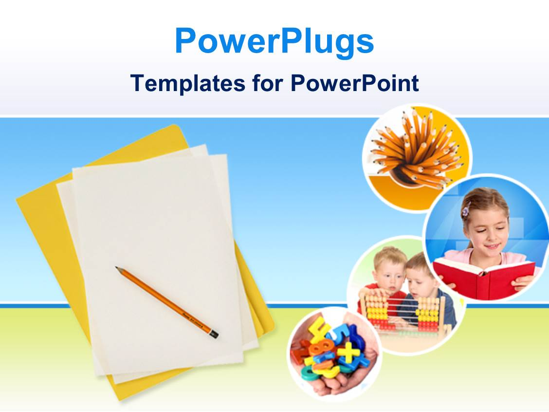 Powerpoint template education theme with yellow folder and white papers with pencil and four for Ppt templates education
