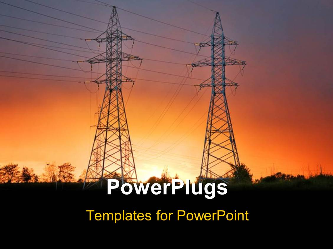 PowerPoint Template: electric power lines with sunset ...