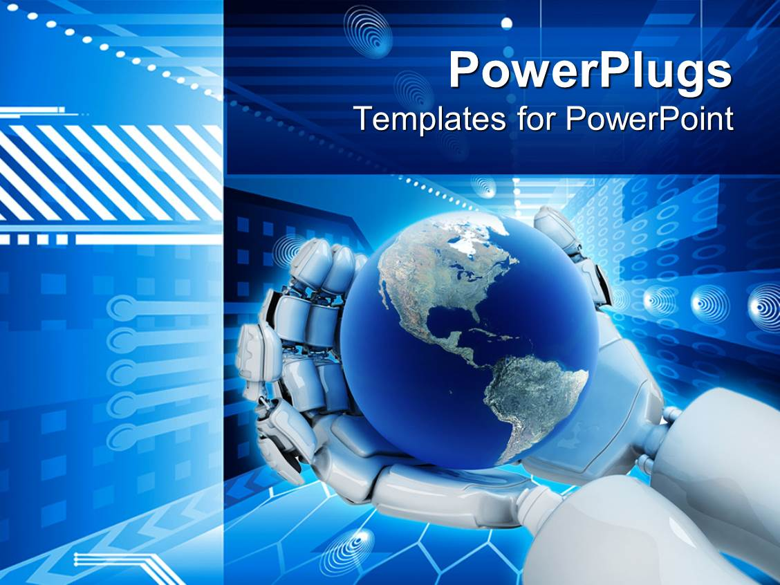 PowerPoint Template: electronic background world on robot ...