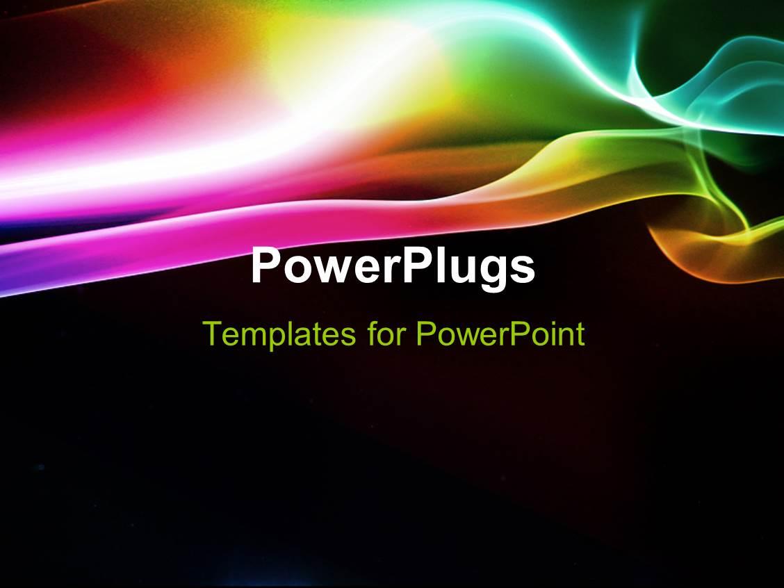 powerpoint template: elegant puff of rainbow smoke with black, Modern powerpoint