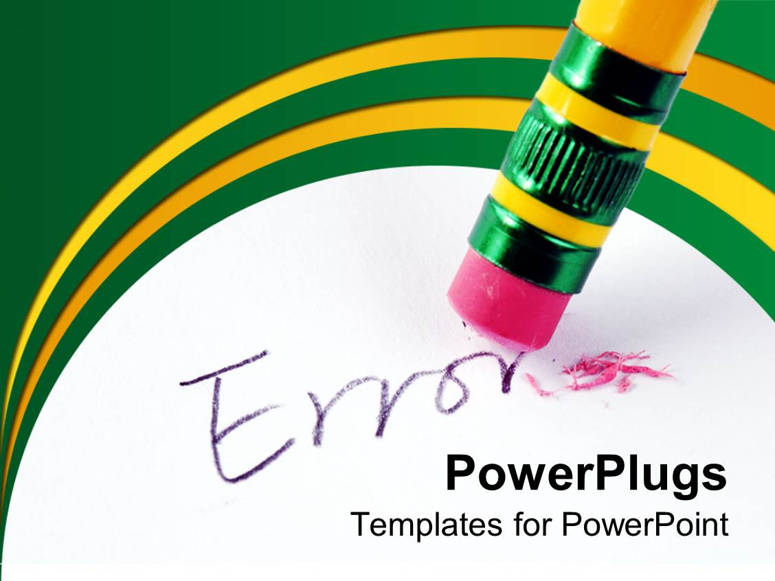 Powerpoint template rainbow color crayons and yellow erasers with template enhanced with end of a pencil eraser cleaning off an error text toneelgroepblik Images