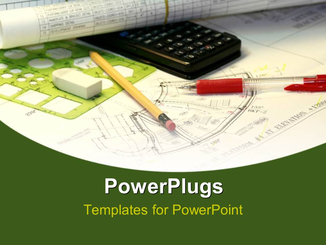powerpoint template an engineering sketch with a black
