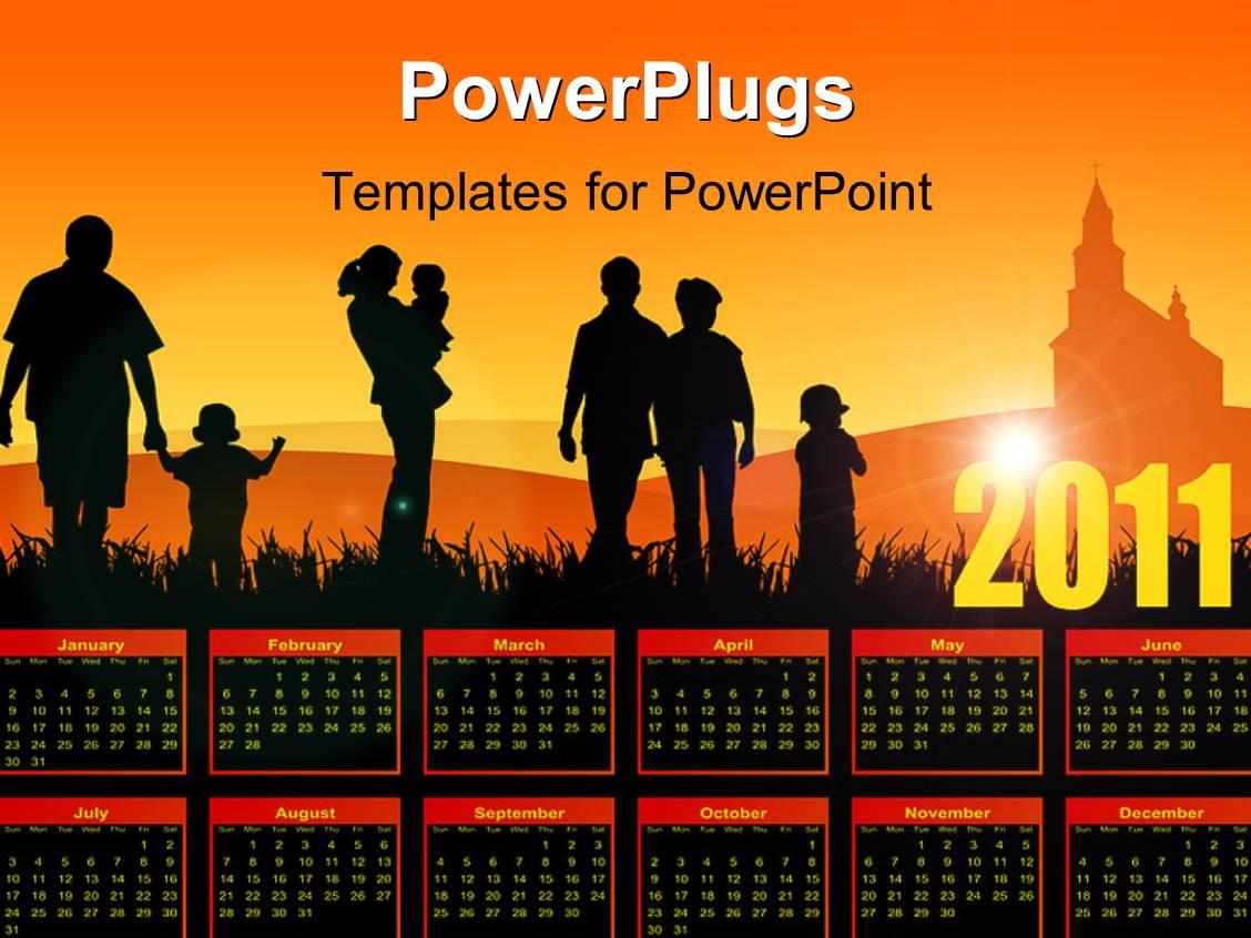 PowerPoint Template: family calendar with church (11773)