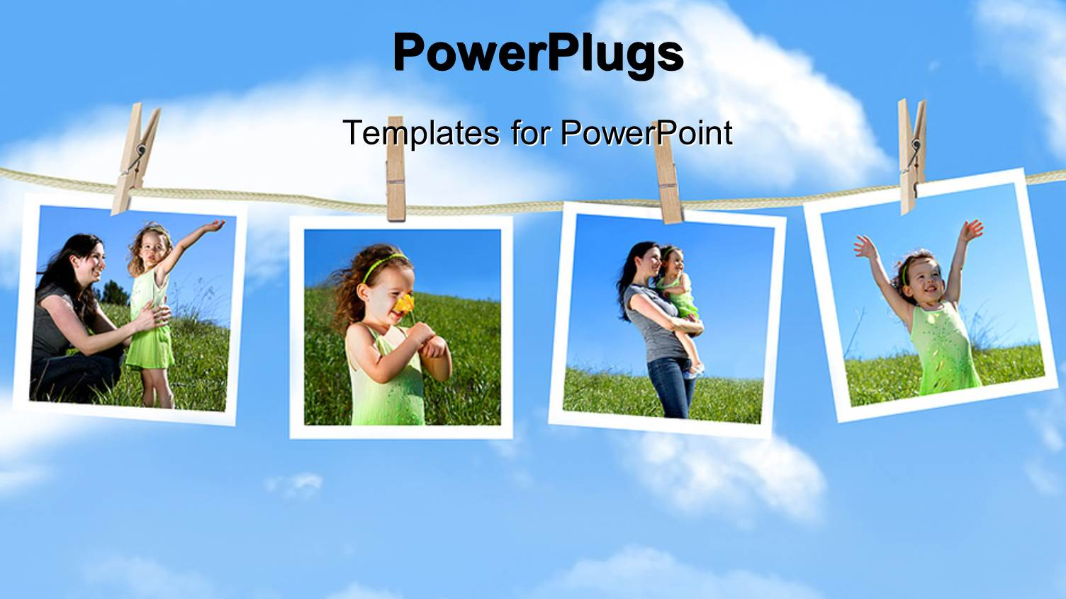 template for hanging pictures - powerpoint template family depictions hanging on a