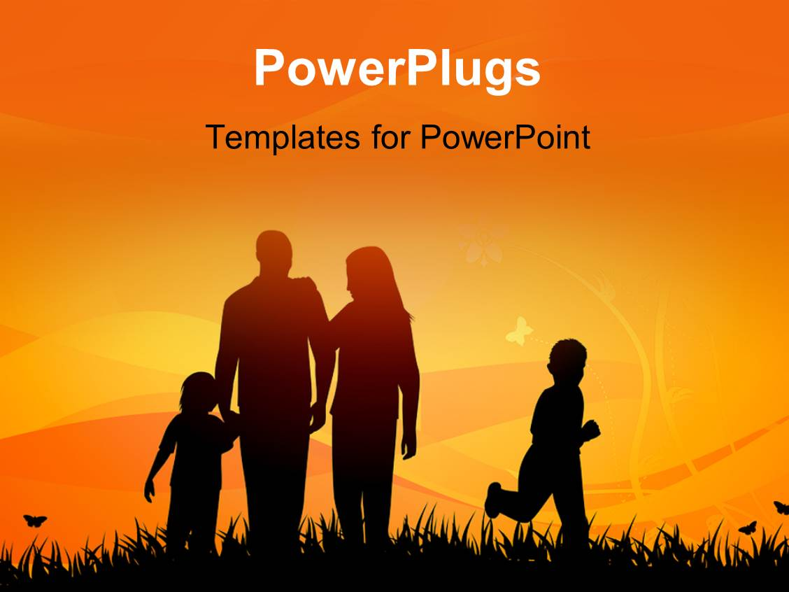 powerpoint template family enjoying in garden with sunset