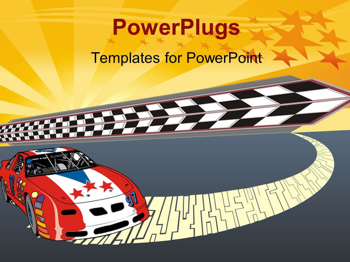 Powerpoint Template Fast Racing Car Illustration With