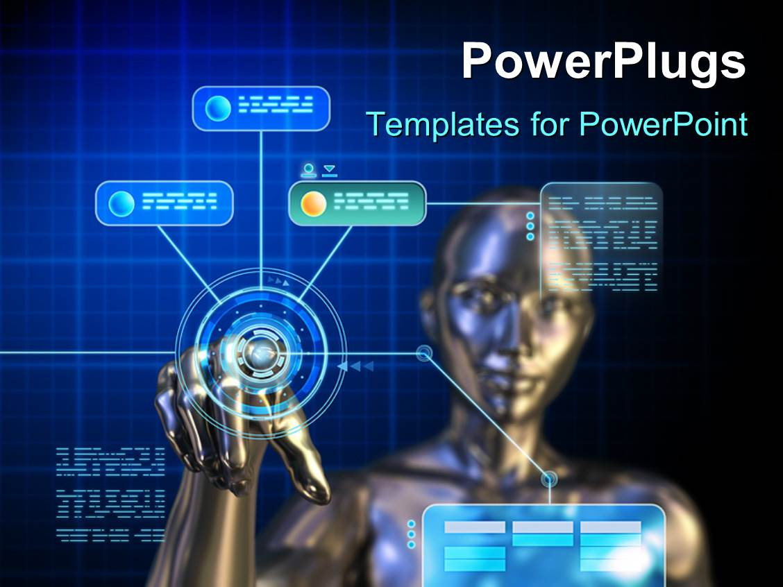 powerpoint template: female android using a futuristic digital, Presentation templates